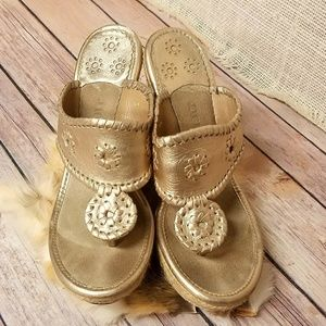 Jack Rogers Gold Leather Hamptons Sandals